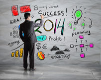 Biznesowej ręki rysunkowy biznes w roku 2014 Obrazy Stock