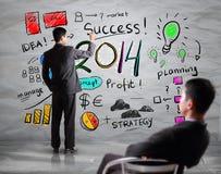 Biznesowej ręki rysunkowy biznes w roku 2014 Fotografia Royalty Free