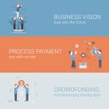 Biznesowej wzrok zapłaty pojęcia ikon crowdfunding płascy sztandary royalty ilustracja