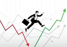 Biznesowi światowi wzloty i upadki ilustracja wektor