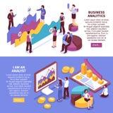 Biznesowi analityków sztandary Ustawiający ilustracja wektor
