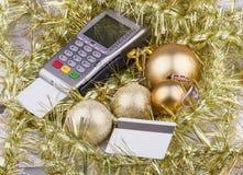 Biznesowi boże narodzenia płatniczy terminal, kredyt Zdjęcia Stock
