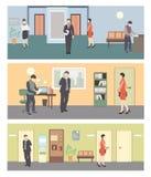Biznesowi charaktery Biurowa sytuaci mieszkania stylu wektoru ilustracja royalty ilustracja