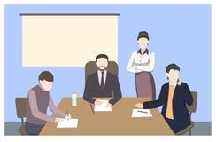 Biznesowi charaktery Biurowa sytuaci mieszkania stylu wektoru ilustracja ilustracji
