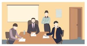 Biznesowi charaktery Pracujący ludzi mieszkanie stylu wektoru ilustraci ilustracji