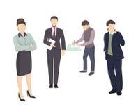 Biznesowi charaktery Pracujący ludzi mieszkanie stylu wektoru ilustraci ilustracja wektor