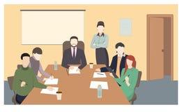 Biznesowi charaktery Spotkanie w biurze ilustracja wektor