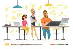 Biznesowi charaktery w niektóre sytuacjach ilustracja wektor