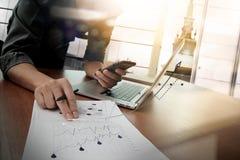 Biznesowi dokumenty na biuro stole z mądrze telefonem Fotografia Royalty Free