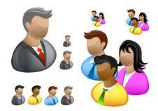 biznesowi ikony internetów ludzie ustawiający Obrazy Royalty Free