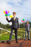 Biznesowi mężczyzna z balonami Zdjęcie Stock