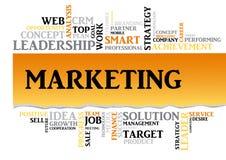 Biznesowi marketingowi powiązani słowa w etykietki chmurze Obrazy Royalty Free