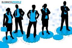 Biznesowi mężczyzna i kobiety stoi na Cogs i przekładniach Obrazy Stock