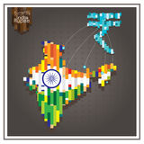 Biznesowi pieniądze rupii wydatków ind kropkujący wykładają map szarość Zdjęcie Royalty Free