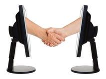 biznesowi pojęcia uścisk dłoni internety wirtualni Obraz Stock