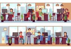 Biznesowi pracownicy, coworkers w nowożytnej biurowej wewnętrznej wektorowej ilustraci ilustracja wektor