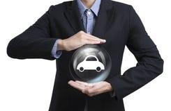 Biznesowi pracownicy ochrania klienta dbają pojęcie samochodu insuranc Zdjęcie Royalty Free