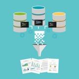 Biznesowi raporty Ekstrakt wiedza od dane Dane business intelligence lub kopalnictwo Obrazy Stock