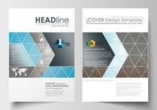 Biznesowi szablony dla broszurki, magazyn, ulotka Okładkowy szablon, płaski układ w A4 rozmiarze naukowe badania medyczne Fotografia Royalty Free