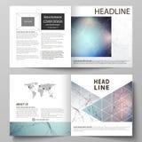 Biznesowi szablony dla kwadratowego projekta bi składają broszurkę, ulotka, raport Ulotki pokrywa, wektorowy układ Mieszanek lini ilustracji