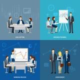 Biznesowi 4 trenowania ikon płaski kwadrat Fotografia Stock