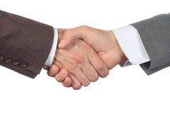 Biznesowi uścisku dłoni dwa business manager wielka korporacja lub firma odizolowywali białego tło Zdjęcie Stock