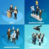 Biznesowi Wygrani lidery 4 Isometric ikony ilustracji