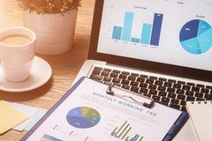 Biznesowi wykresy i mapy na drewnianym biurku z laptopem, kawa Obrazy Royalty Free