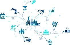 Biznesowi wyzwania projektują †'firma symbol z różnorodnymi biznesowymi fasetami Obrazy Stock