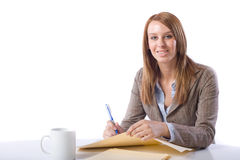 biznesowy biurko zauważa kobiety writing Fotografia Royalty Free