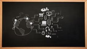 Biznesowy brainstorm pojawiać się na chalkboard ilustracja wektor