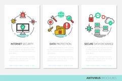 Biznesowy broszurka szablon Internetowe ochrona dane ochrony Liniowe Cienkie ikony royalty ilustracja