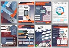 Biznesowy broszurka szablon z infographics i ikonami Obrazy Stock