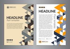 Biznesowy broszurki ulotki projekta układu szablon, wielkościowy A4 z trójboka wzorem, tła nowożytni Obrazy Royalty Free