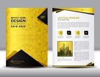 Biznesowy broszurki ulotki szablon w A4 rozmiarze, złoto pokrywy projekt Zdjęcie Stock