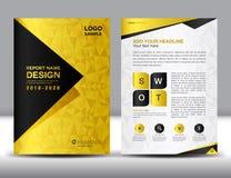 Biznesowy broszurki ulotki szablon w A4 rozmiarze, złoto pokrywy projekt Obrazy Stock