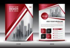 Biznesowy broszurki ulotki templater, czerwieni pokrywy projekt Obraz Stock