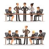 Biznesowy charakter przy stołem w sala konferencyjnej Mężczyzna i kobieta w bogatym kostiumu Wektorowe ilustracje ustawiać Fotografia Stock