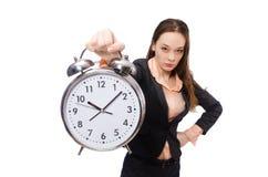 Biznesowy damy mienia budzik odizolowywający dalej Zdjęcie Stock