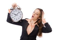 Biznesowy damy mienia budzik odizolowywający na Zdjęcia Stock