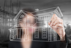 Biznesowy damy rysunku domu plan dla budowy. Obrazy Royalty Free