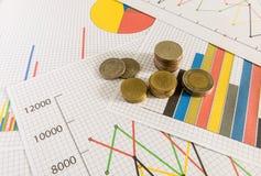 Biznesowy diagram na pieniężnym raporcie z monetami zdjęcie royalty free
