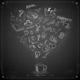 Biznesowy Doodle na Chalkboard ilustracji