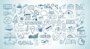 Biznesowy doodles nakreślenie ustawiający: infographics elementy odizolowywający, Zdjęcia Stock