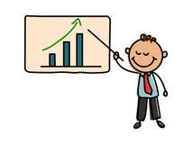 Biznesowy dzieciak Kreskówka dzieciaka wektoru ilustracja Biznesowego wzrostowego wykresu i biznesowego mężczyzna kreskówki ilust Obraz Stock