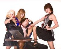 biznesowy dziewczyny humoru laptopu mężczyzna biuro Fotografia Royalty Free
