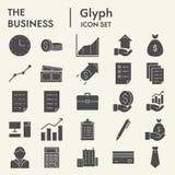 Biznesowy glif ikony set, biurowi symbole kolekcja, wektor kreśli, logo ilustracje, kieruje znak bryły piktogramy royalty ilustracja