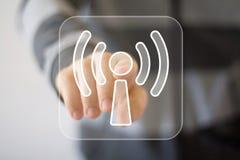 Biznesowy guzika Wifi związku sygnał Fotografia Stock