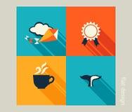 Biznesowy ikona set Wakacje, wakacje, odtwarzanie Płaski projekt ilustracji