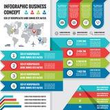 Biznesowy infographic pojęcie układ w płaskim projekta stylu dla prezentaci, broszury, strony internetowej i innych projektów pro Obrazy Royalty Free